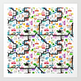 Busy City Streets Kids Watercolor Pattern Art Print