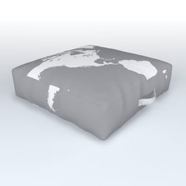 World Map Wanderlust Modern Travel Map in Gray With White Countries Outdoor Floor Cushion