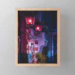 At the door   Night Collection   Red lights   Street photography Framed Mini Art Print
