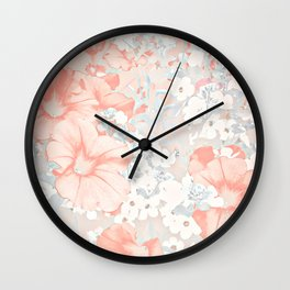 Coral And Grey Petunias Wall Clock