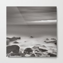 Sea, rocks and sky in winter, long exposure black and white square. Metal Print