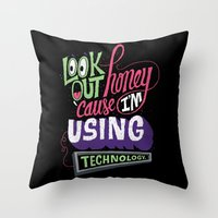 technology Throw Pillows featuring Using Technology by Chris Piascik