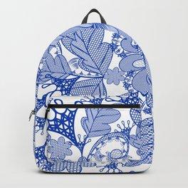 Lace blue design. Vector fashion illustration Backpack