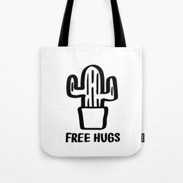 """Free Hugs"" Cactus Illustration Black and White Tote Bag"