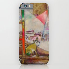 'Paris Through the Window - Eiffel Tower, Seine, & Left Bank' by Marc Chagall iPhone Case