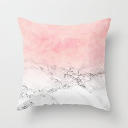 Modern blush pink watercolor ombre white marble Throw Pillow