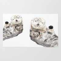 otters Area & Throw Rugs featuring Sea Otters Watercolor Painting by Triple Studio