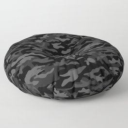 NEW AGE BLACK CAMOUFLAGE IN 4 SHADES OF GRAY Floor Pillow