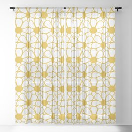 Polka Dot Daisies - Cheerful Retro Geometric Floral Pattern in Mustard and White Sheer Curtain