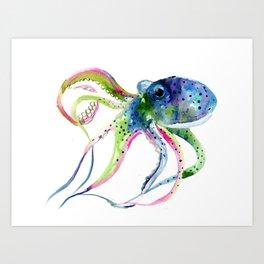 Blue Rainbow Octopus decor octopius lover gift Art Print