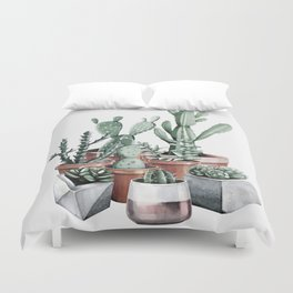 Potted Cacti + Succulents Rose Gold Duvet Cover