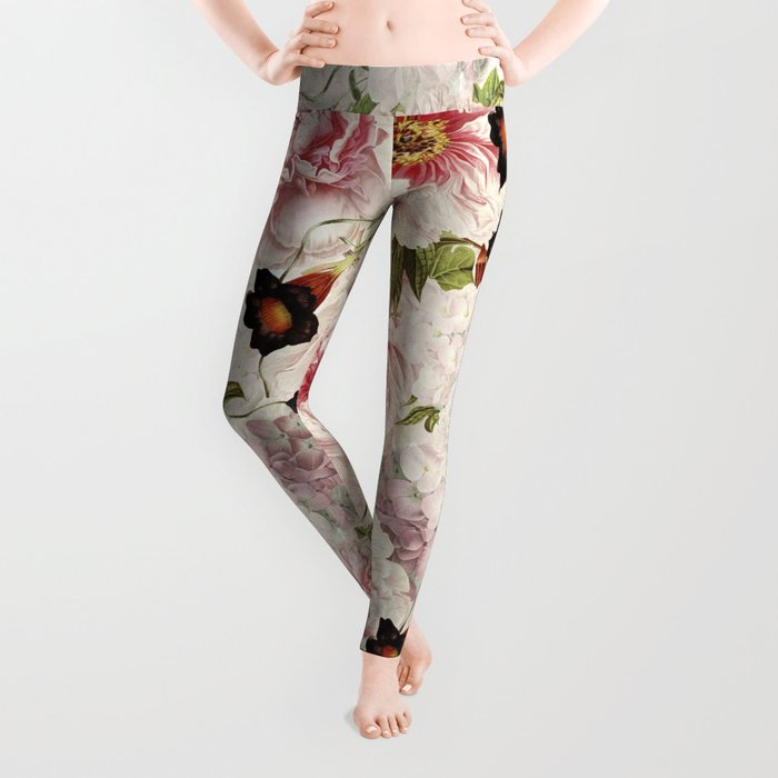 Small Vintage Peony and Ipomea Pattern - Smelling Dreams Leggings
