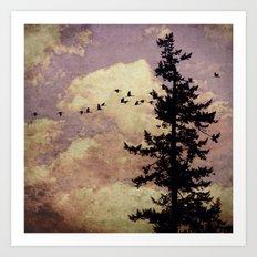 Lone Lavender Pine Tree Art Print
