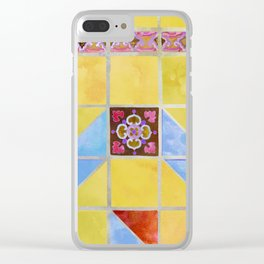 Fredericksburg Texas Vintage Ceramic Tile Pattern - Citrus Yellow Clear iPhone Case