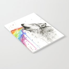 Wolf Rainbow Watercolor Animal Notebook
