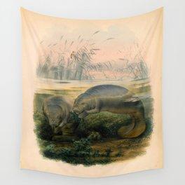 Vintage Scientific illustration, c. 1880 (Manatees) Wall Tapestry