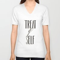 treat yo self V-neck T-shirts featuring TREAT YO SELF by The Mint Creative