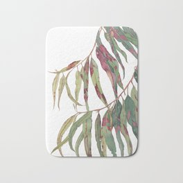 A touch of red - watercolour of eucalyptus branch Bath Mat