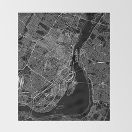 Montreal Black Map Throw Blanket