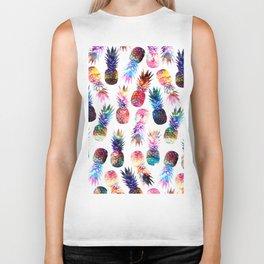 watercolor and nebula pineapples illustration pattern Biker Tank