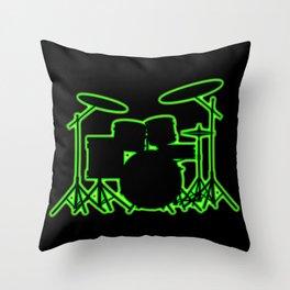 Neon Drum Kit Throw Pillow