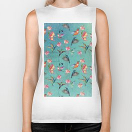 Vintage Watercolor hummingbirds and fuchsia flowers Biker Tank