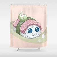 sushi Shower Curtains featuring Sushi by sw4mp rat