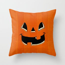 Trick or Treat Halloween Pumpkin Face Throw Pillow