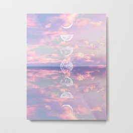 Moon Reflection Sunset Metal Print