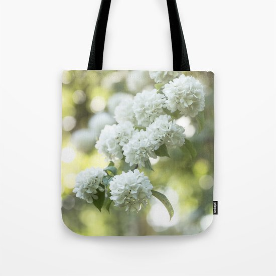 White Hydrangea at beautiful backlight- Flowers Floral Tote Bag