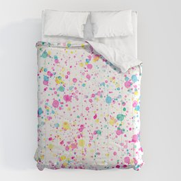 Spring Happy - Bright Color Paint Splatter Comforters