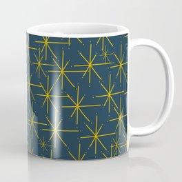Stella - Atomic Age Mid Century Modern Pattern in Light Mustard Yellow and Navy Blue Coffee Mug