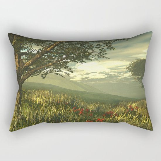 Summer tree in a poppy field Rectangular Pillow