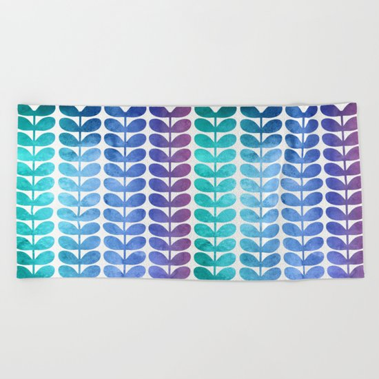 Colorful Leaves from Turquoise to Levender Beach Towel