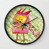chicken Wall Clocks featuring Chicken by Dawn Patel Art