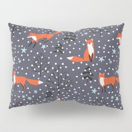 Red foxes in the nignt winter forest Pillow Sham