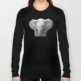 Black and White Baby Elephant Long Sleeve T-shirt
