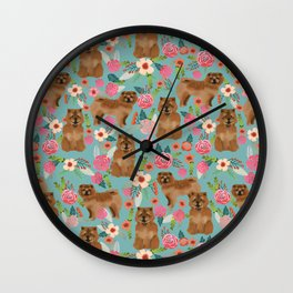 Chow Chow dog breed pet art dog floral pattern gifts for dog lover pet friendly Wall Clock