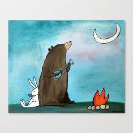 Campfire Bear Canvas Print