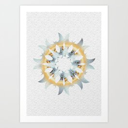 Yellow and blue fire sun shaped graphic on white embossed background. Art Print