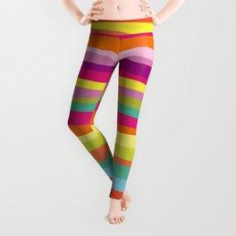 Bold Colorful Stripes Waves Leggings