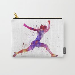 Woman runner running jumping shouting Carry-All Pouch