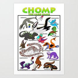 A Collection of Dinosaurs Art Print