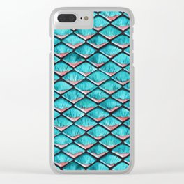 Teal blue and coral pink arapaima mermaid scales Clear iPhone Case