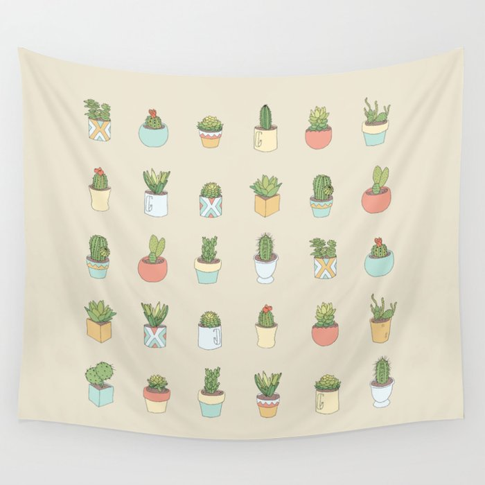 Cute Succulents Wall Tapestry