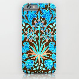 William Morris Hyacinth Print, Chocolate Brown and Aqua iPhone Case