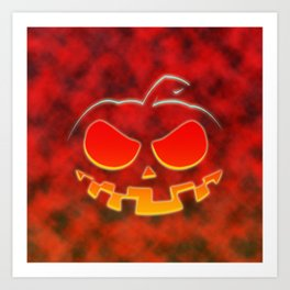 Screaming Pumpkin Art Print