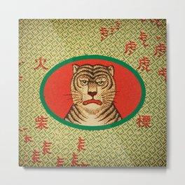 Tiger Matchbox Label Metal Print