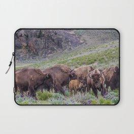 Buffalo On The Move In Yellowstone Laptop Sleeve