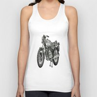 motorbike Tank Tops featuring Stippled Motorbike  by Rachael Kotvojs